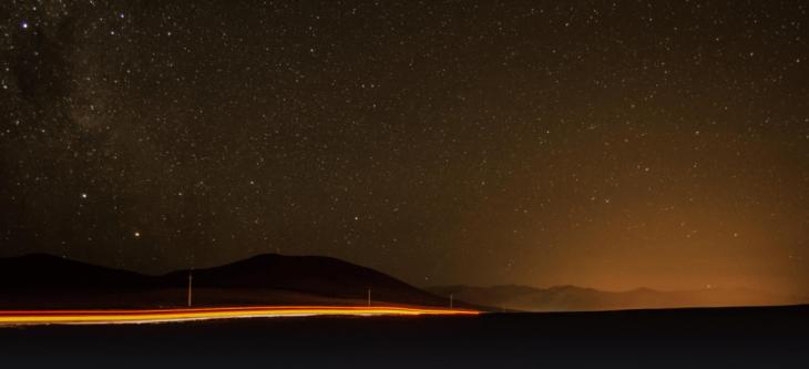 Vista noturna do Atacama